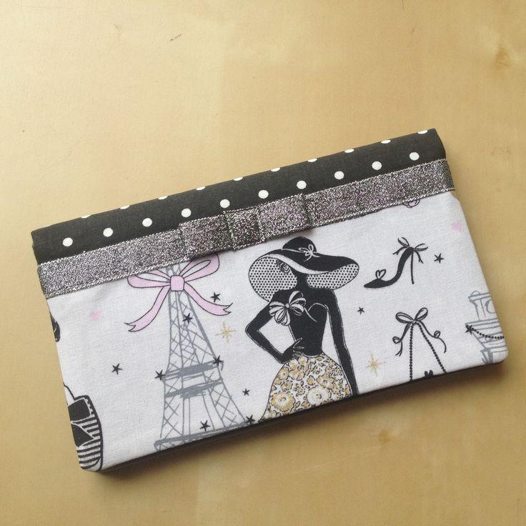 """Porte-chéquier rétro chic """"la parisienne"""" N°19 en tissu à pois et galon argenté : Porte-monnaie, portefeuilles par nymeria-creation"""