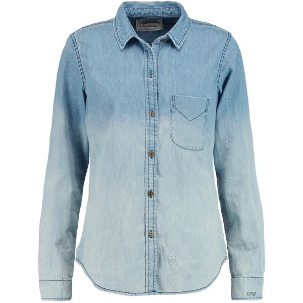 Current/Elliott The Slim Boy ombré chambray shirt ($100) ❤ liked on Polyvore featuring tops, button up, blusas, shirts, sky blue, blue chambray shirt, sky blue shirt, ombre shirt, oversized button up shirt and blue button up shirt