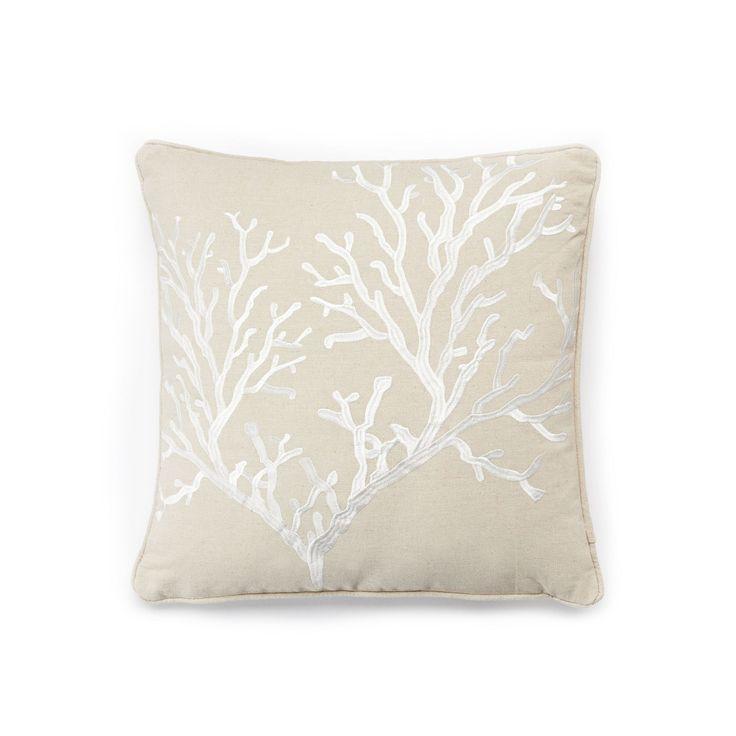 Bahamas Coral Throw Pillow, Beig/Green (Beig/Khaki)