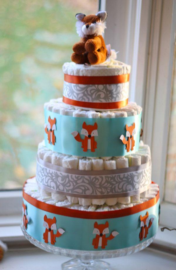 Diaper Cake With Custom Fox Cutouts Bottle Art