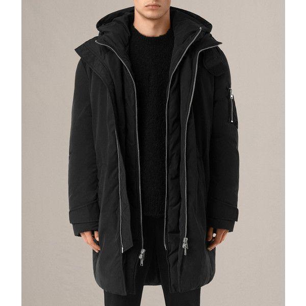 AllSaints Shields Parka ($495) ❤ liked on Polyvore featuring men's fashion, men's clothing, men's outerwear, men's coats, black, mens military style coat, mens military coat, mens hooded coat and mens parka coats