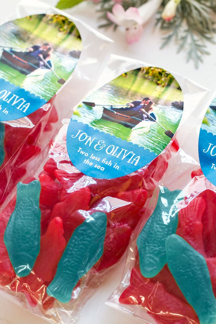 Swedish Fish Wedding Favor - Two less fish in the sea!