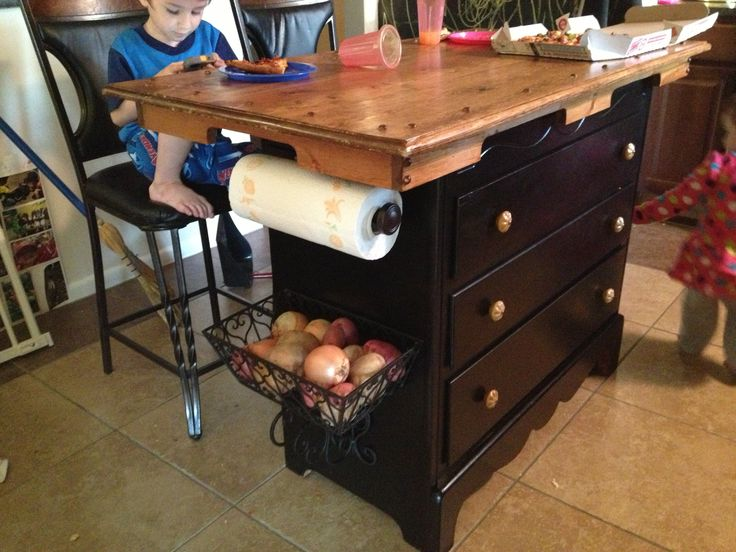 Turned A Dresser Into A Kitchen Island Table Top On Top