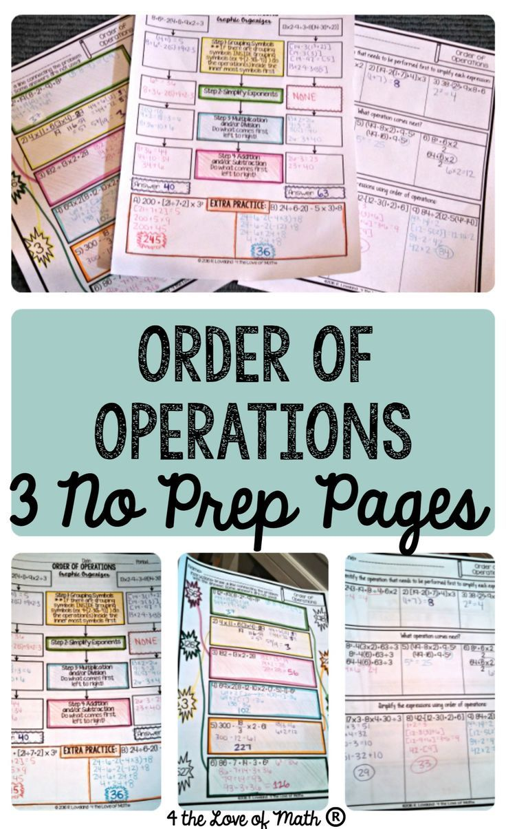 Reviewing Order of Operations in Algebra  These printable  no prep pages provide an easy