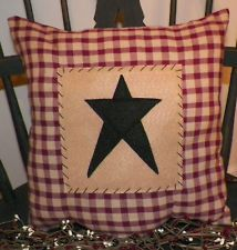 Primitive Barn Star Pillow COVER Stitchery Rustic Country Decor Decoration Plaid