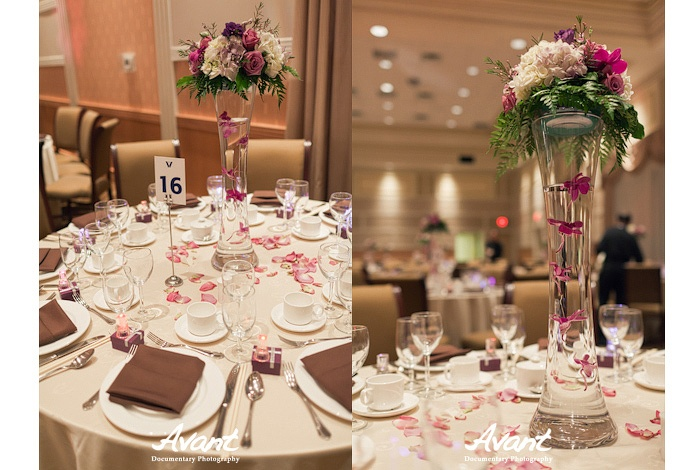 Wedding banquet guest table and center piece