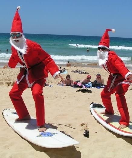 An  Aussie Christmas - santa beach surfing