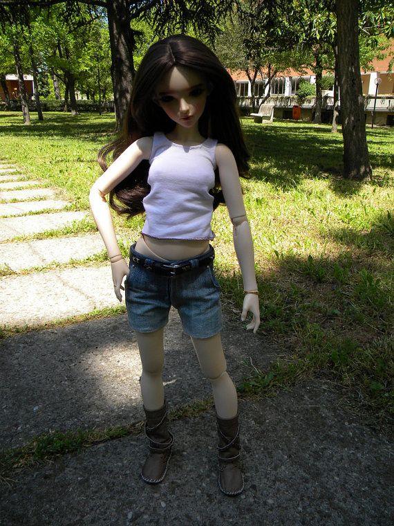 Jeans corti per Feeple 60 SD 13 con cintura in pelle di Style4Bjd, €35.00