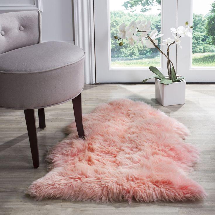 Safavieh Prairie Natural Pelt Sheepskin Wool Solid Pink Shag Rug (2u0027 X 3u0027