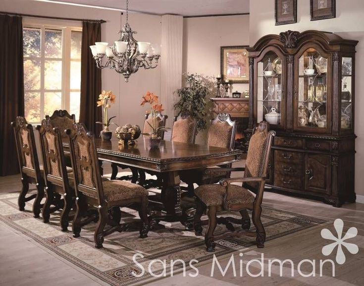 Formal 12 piece renae dining room set table 10 chairs for Dining room table and buffet sets