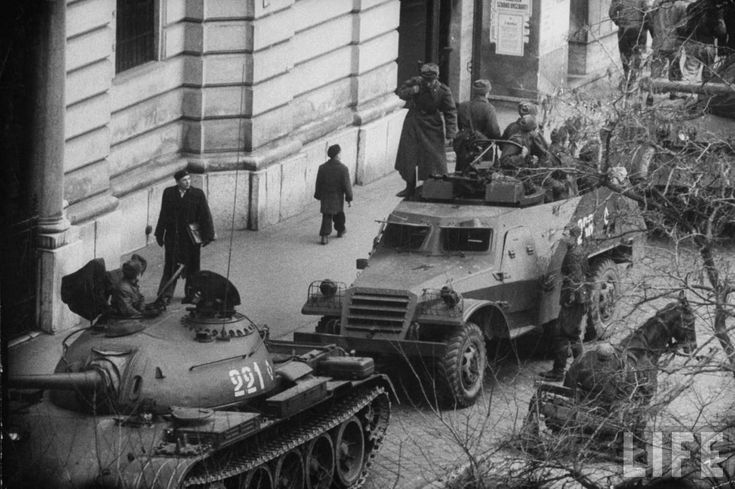 Soviet T-54 tank and BTR-152 armored personnel carrier in Budapest, 1956