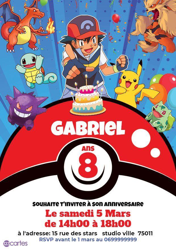 invitation anniversaire pokemon, pokeball avec Sacha et des créa… en 2020 | Invitation ...