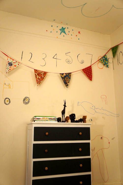 Home tour of Kate Lewis. Kids space. Drawings on the wall.White Wall