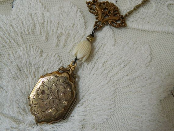 Gold Victorian Locket Assemblage Necklace by 58Diamond on Etsy