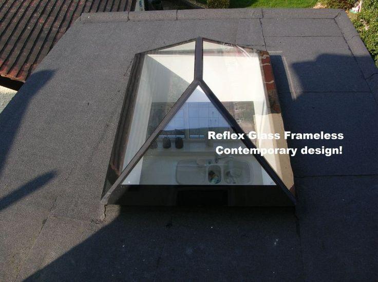 Frameless glass roof lantern