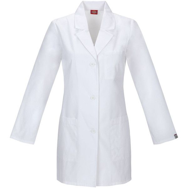 Women's EDS Signature Lab Coat | Womens Scrubs | Dickies ($25) ❤ liked on Polyvore featuring outerwear, coats, dickies coats, dickies and button coat