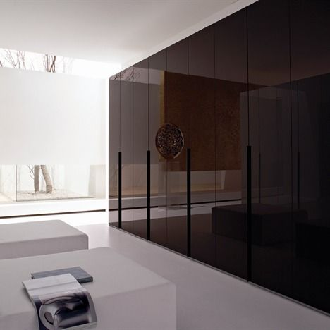Neatsmith Lacquered Glass Door Wardrobe With Line