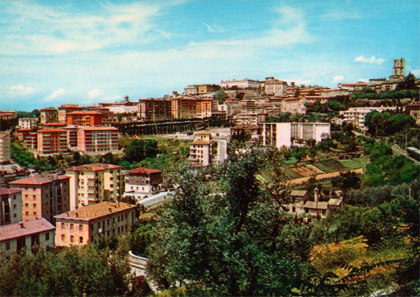 Perugia, Italy - 60s Postcard (view from S.Pietro area)