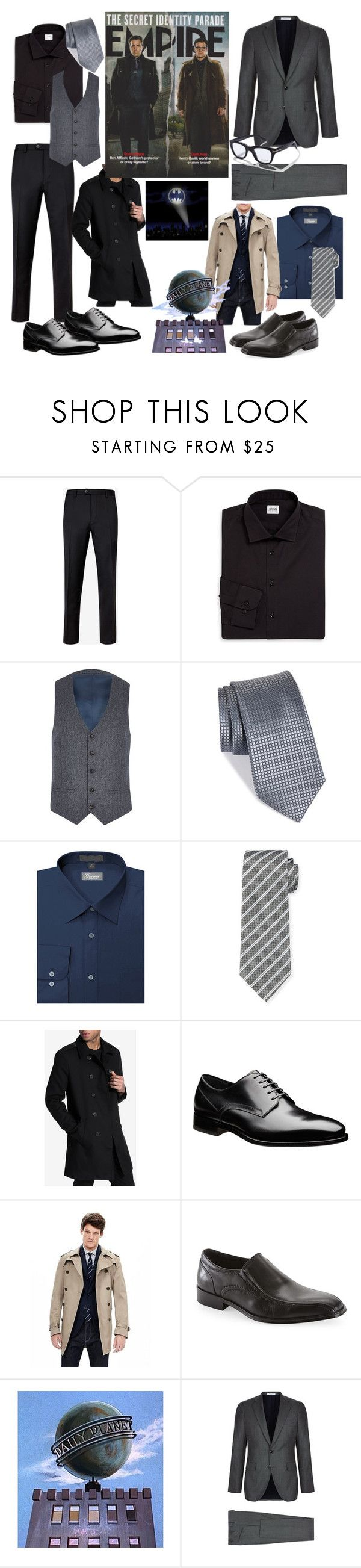 """""""Bruce Wayne meet Clark Kent"""" by hmoua82 ❤ liked on Polyvore featuring Ted Baker, Armani Collezioni, River Island, Nordstrom, Robert Graham, Only & Sons, Banana Republic, Steve Madden, Boglioli and Tom Ford"""