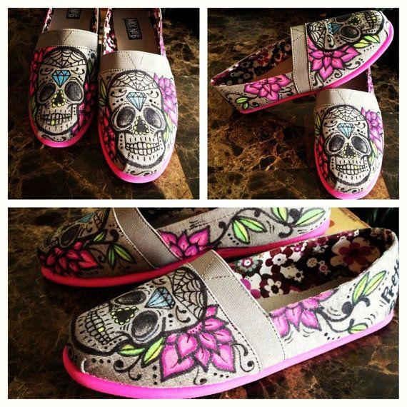 Custom Sugar Skull Tom's by PrettyInPunkArt on Etsy