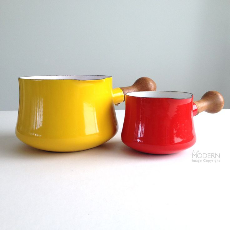 Dansk Kobenstyle Jens Quistgaard Red and Yellow Butter Warmer Pots