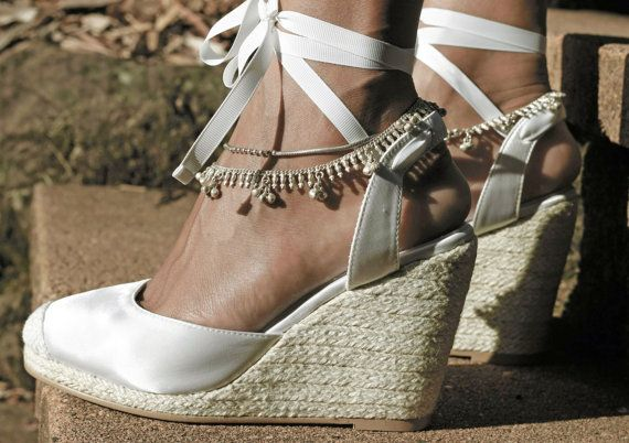 Ladies Espadrille Wedges with white satin and by ForeverSoles, $164.95  love these