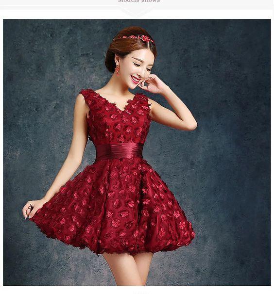 8a635dadf2 Vestidos de XV años » Vestidos cortos color vino 4