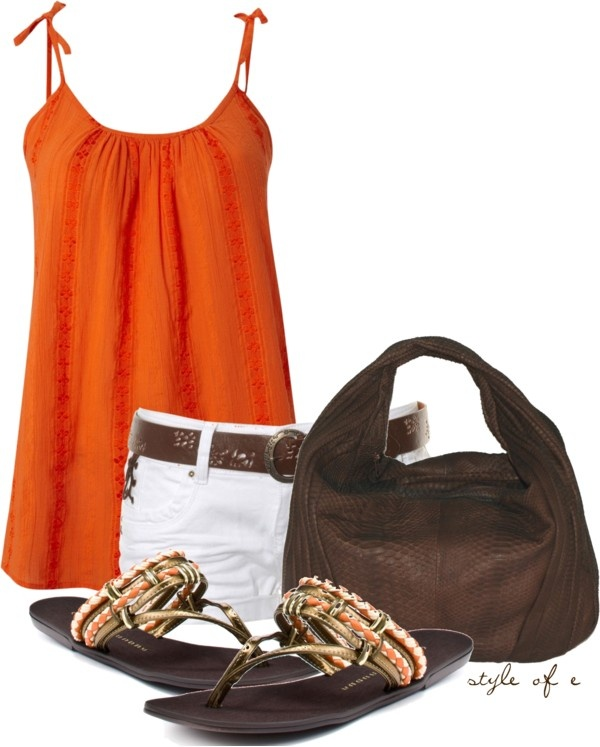 Orange Tank, created by styleofe on Polyvore