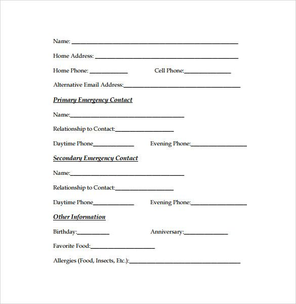 Image result for emergency contact forms