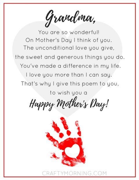 mothers day grandma poem handprint printable poems pinterest mothers day poems mother 39 s. Black Bedroom Furniture Sets. Home Design Ideas