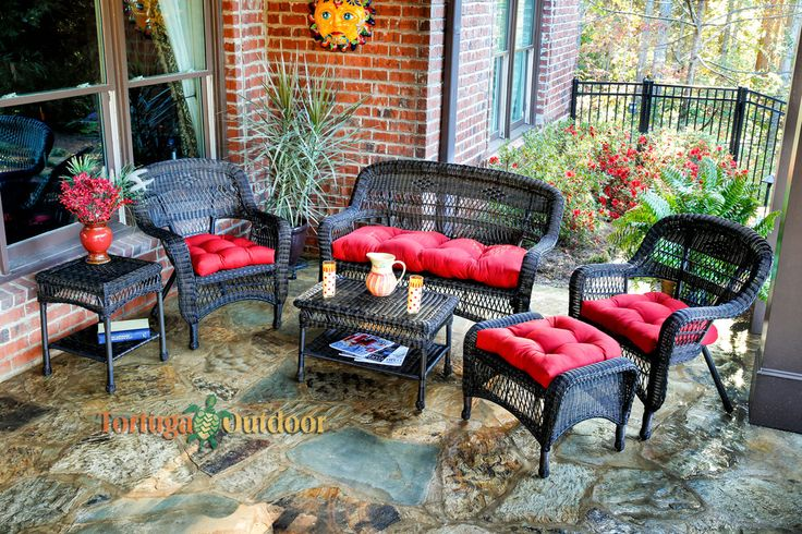 Portside 6 Piece Wicker Lounge Seating Set - Dark Roast