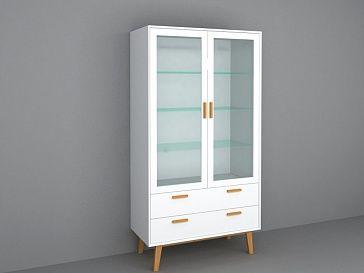 Витрина Витрина 2-дверная с 4-мя внутренними полками, с 2-мя широкими выдвижными ящиками - для хранения предметов