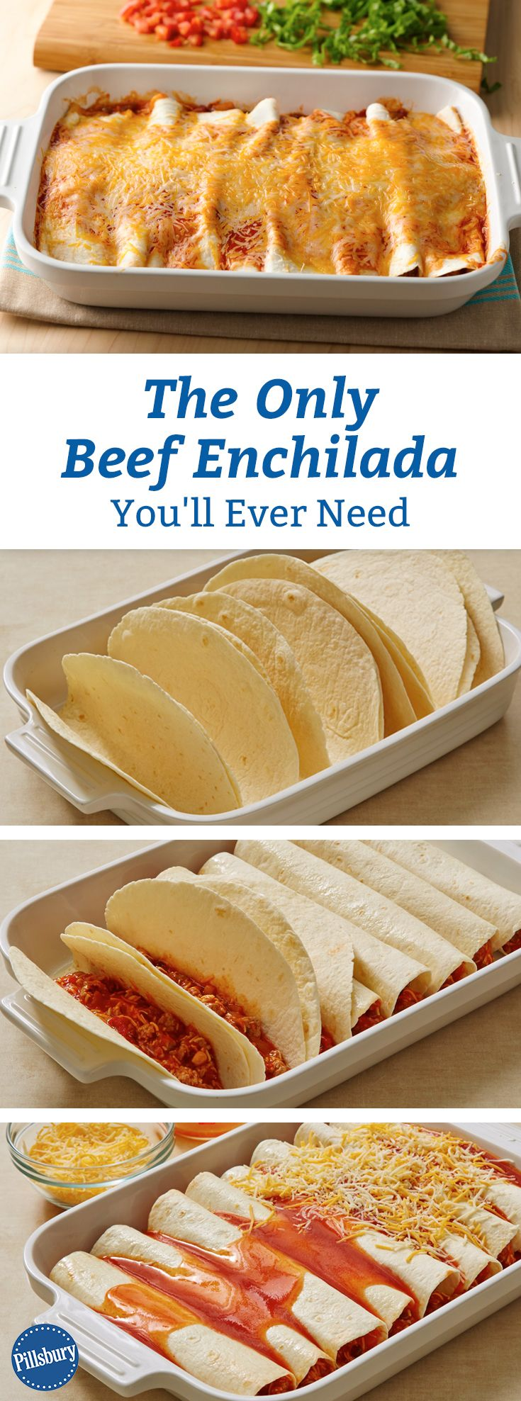 The Only Beef Enchiladas Recipe You'll Ever Need: Easy meal planning tip: Make these 5-ingredient enchiladas for dinner once a week until the end of time. (Or until you're sick of Mexican food—whichever comes first.)