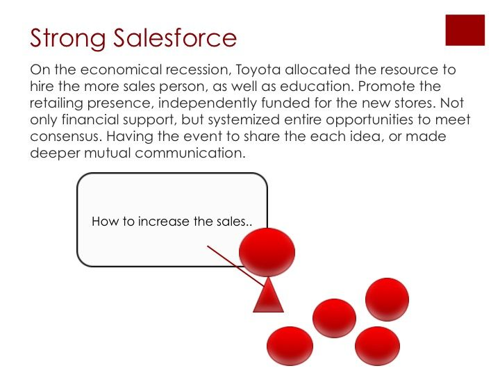On the economical recession, Toyota allocated the resource to hire the more sales person, as well as education. Promote the retailing presence, independently funded for the new stores. Not only financial support, but systemized entire opportunities to meet consensus. Having the event to share the each idea, or made deeper mutual communication.  #socialmedia #business #branding #marketing