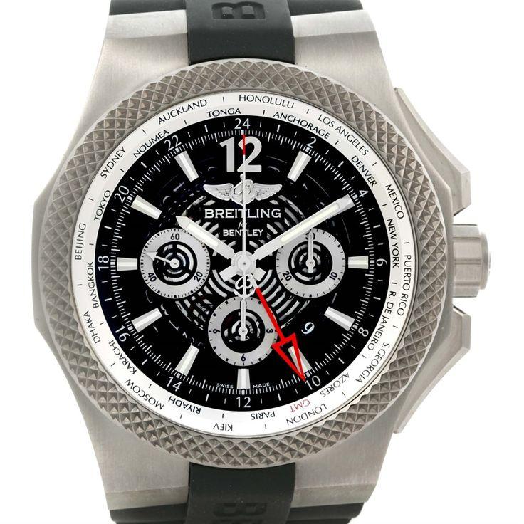 Breitling Bentley Chronograph GMT Black Dial Titanium Watch A47362