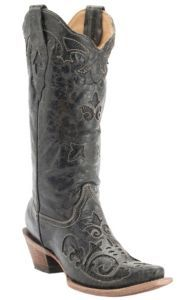Corral Ladies Vintage Black w/ Black Lizard Inlay & Bone Stitching Snip Toe Western Boots | Cavender's