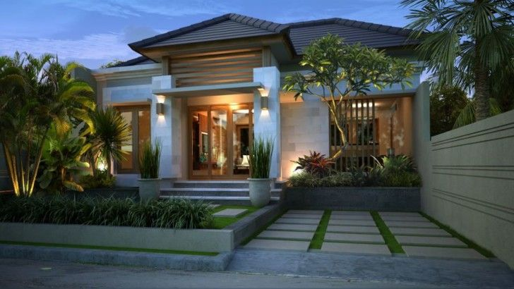 Architecture, Amazing Modern Balinese Looking Exterior Look And Garden With Wooden Glass Door ~ Architectural Design Home Combination of Traditional Ethnic Bali