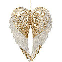 "Kurt Adler 6"" Acrylc White Wing with Gold Glitter Christmas Ornament"