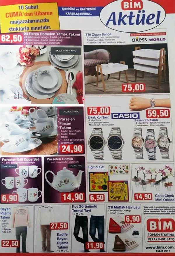 Bim aktüel ürün kampanyalarında 10 Şubat 2017 Cuma günü satışa sunulacak fırsat ürünlerini aşağıdaki bim insertinde inceleyebilirsiniz. Bimde bu hafta hanımların ilgisini çekecek Kütahya 24 parça porselen yemek takımı 62.50 TL fiyatla satılacak. Şık ahşap zigon sehpa 3'lü 75 TL fiyatla dikkat çekiyor. 14 Şubat sevgililer gününde güzel bir hediye olabilecek Bay-bayan Casio kol saatleri 75 TL ve 59.50 TL fiyatla satılacak. Kütahya poselen demlik 14.90 TL, kot görünümlü termal taytlar 11.90 ...