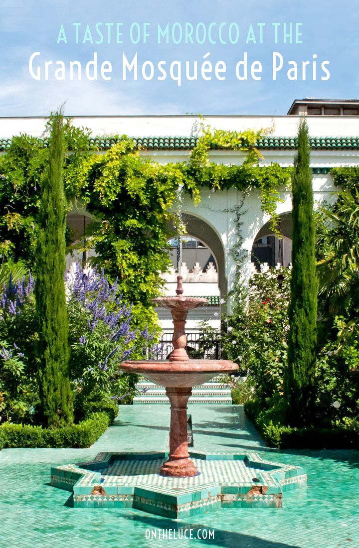 The Grande Mosquée de Paris, a taste of Morocco in the centre of Paris with ornate tiling, a Moroccan tea room and a garden full of trees and flowers.