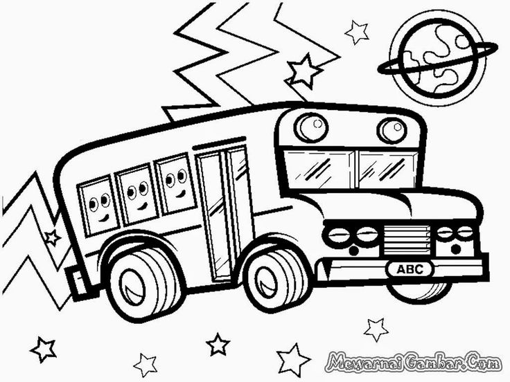 mewarnai gambar mobil bus