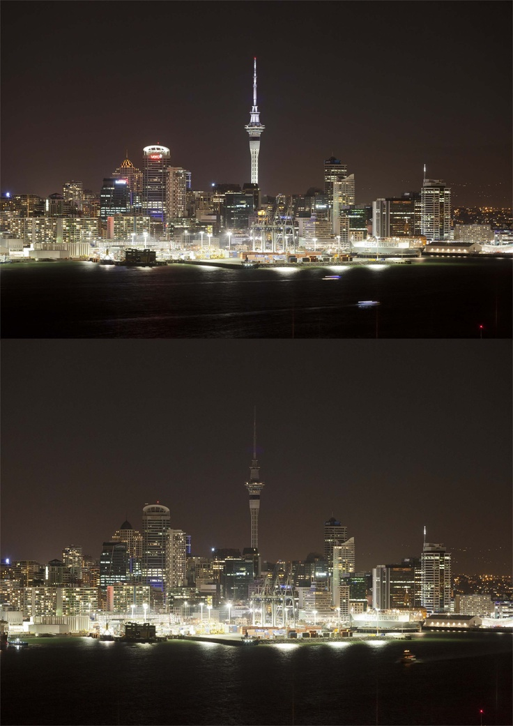@ Sky Tower participating in Earth Hour 2012 - now you see it, now you don't!