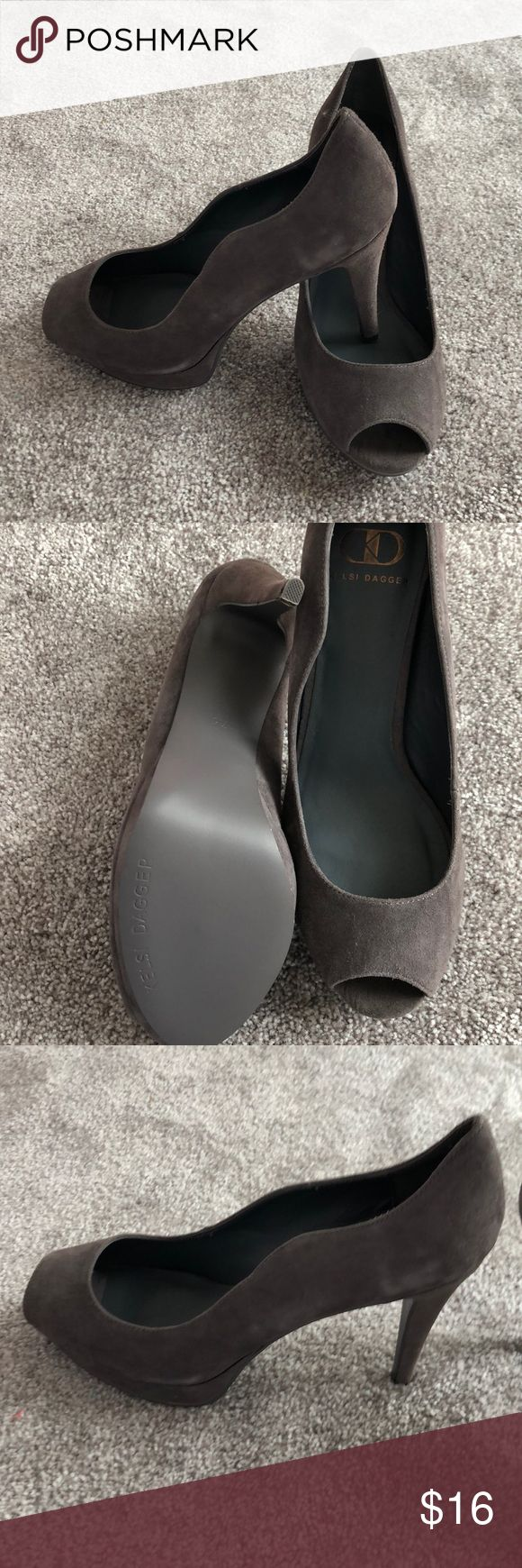 Gray kelsi dagger peep toe heels Gray Kelsi Dagger heels. New without tags. Never worn. 3.75inch heels. Suede material with scalloped edges toward back of heels. Size 7.5. Kelsi Dagger Shoes Heels