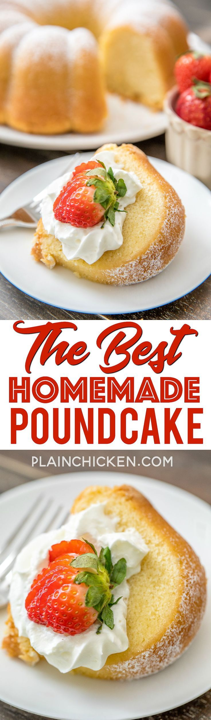 The BEST Homemade Pound Cake - I've been making this cake for over 20 years and it never fails me! Seriously DELICIOUS!!! The key to success is to have all your ingredients at room temperature. Butter, shortening, sugar, eggs, flour, baking powder, milk,
