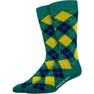 Green, Yellow & Navy Argyle Socks for Men