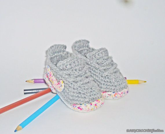 Gray Baby Shoes Baby Sneakers  Infant Baby by BABYCROCHETfashion