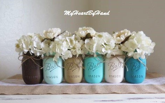 Rustic Assortment of 6 Distressed Mason Jars Baby Shower