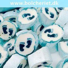 Baby fødder - lyseblå - kan bruges til dåb , navngivningsfest , babyshowers - lige ned i en lille cellofanpose med lyseblå sløjfe... Lækre bolcher