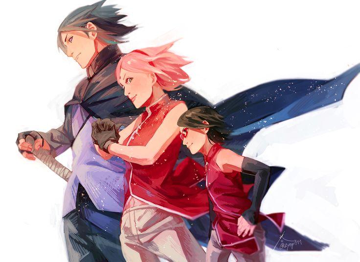 Naruto, Sasuke, Sakura, Sarada
