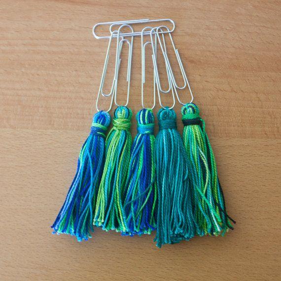 Set van 5 handgemaakte kwast paperclips klaar voor gebruik in uw tijdschriften, zoals bladwijzers of geschenken